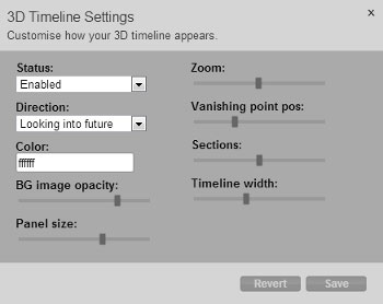 Settings for 3d timeline view