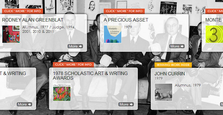 Screenshot of The Scholastic Art & Writing Awards timeline