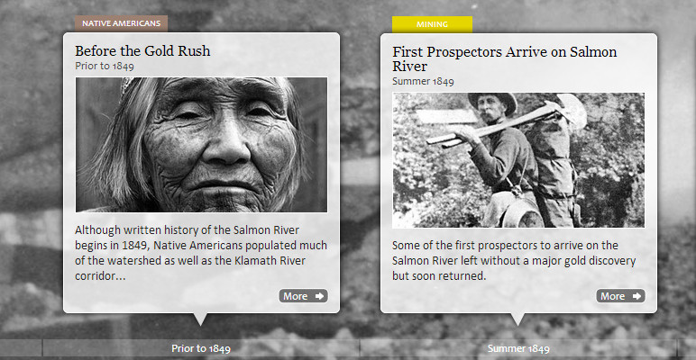 Screenshot from Salmon River History Timeline