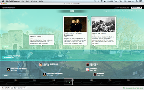 Screenshot of a Tower of London timeline