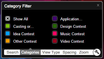 Filtering the categories