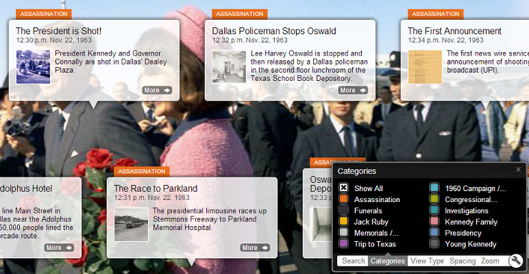 Screenshot from JFK Assassination Timeline showing category list in viewer control panel
