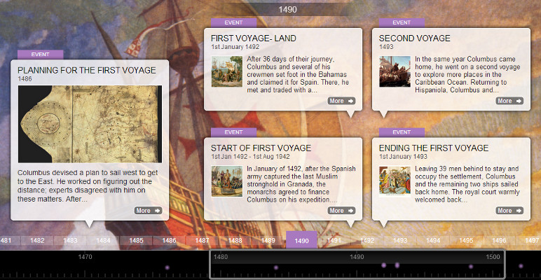 Screenshot from 'The Adventures of Christopher Columbus' timeline created by student Enna B.